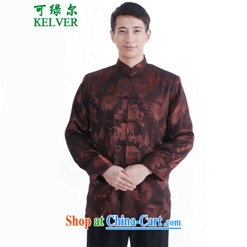 To Green, autumn and winter fashion new and old father with a collar, ribbed jacquard single buckle Tang replace Generalissimo picture color 3XL