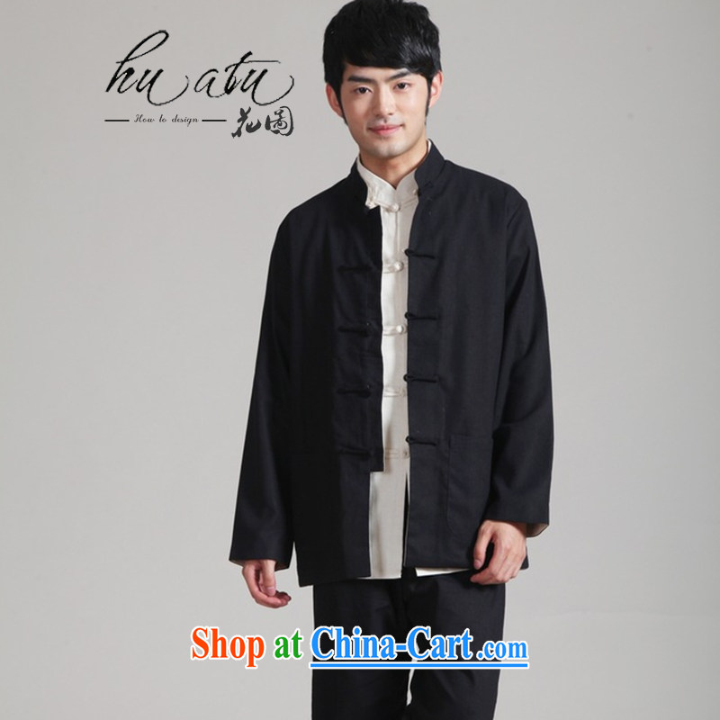 spend the winter new middle-aged and older men's father with men cotton the duplex through ancient Chinese long-sleeved cardigan jacket men - 1 black and beige XXXL
