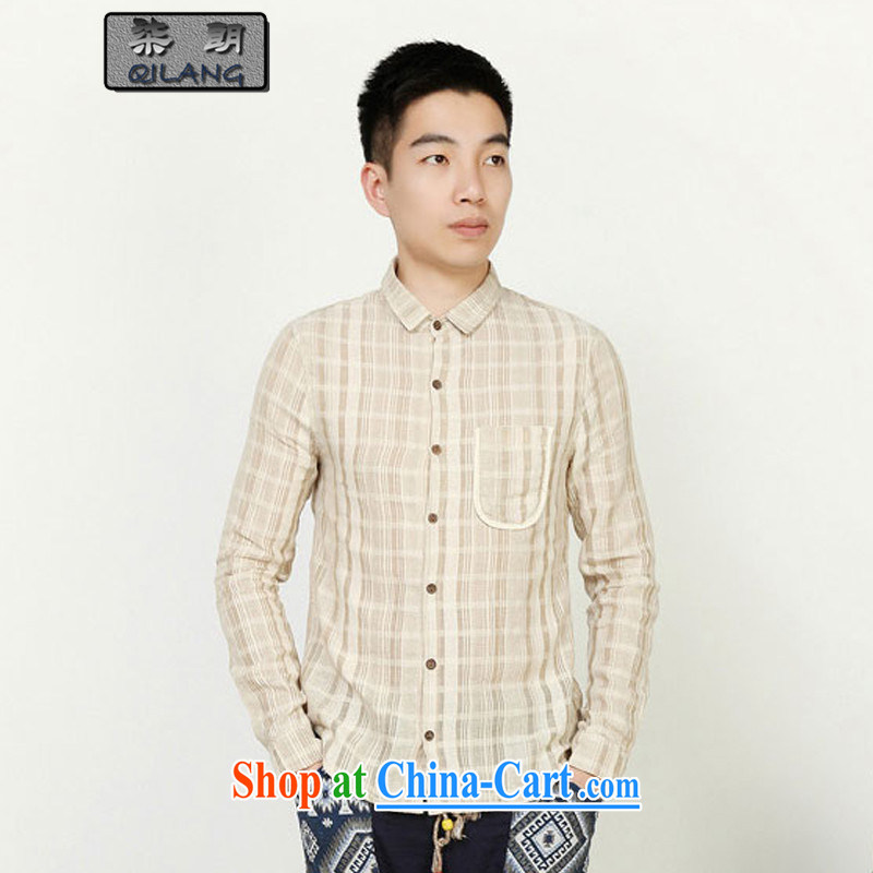 Fujing Qipai Yuen Long designer series National wind embroidery, on old wood ties, for cultivating long-sleeved men Chinese shirt/B 91 * arts Miguel * XL