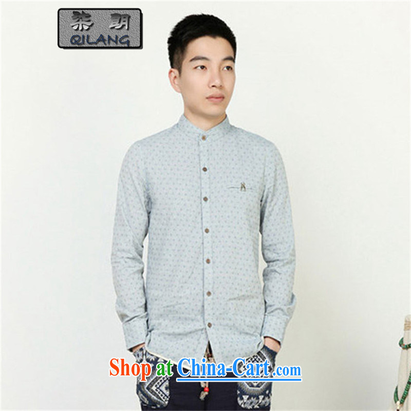 Fujing Qipai Yuen Long designer series wood snap-ethnic wind Embroidery is on, to apply for long-sleeved cultivating men China wind shirt/B 92 * arts blue * XL