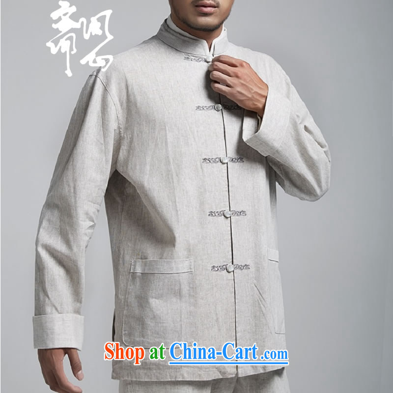 Ask a vegetarian _the health of spring loaded new China wind-tie linen smock embroidery Tang replace WXZ 1494 light gray XXXXL 190 _ 108