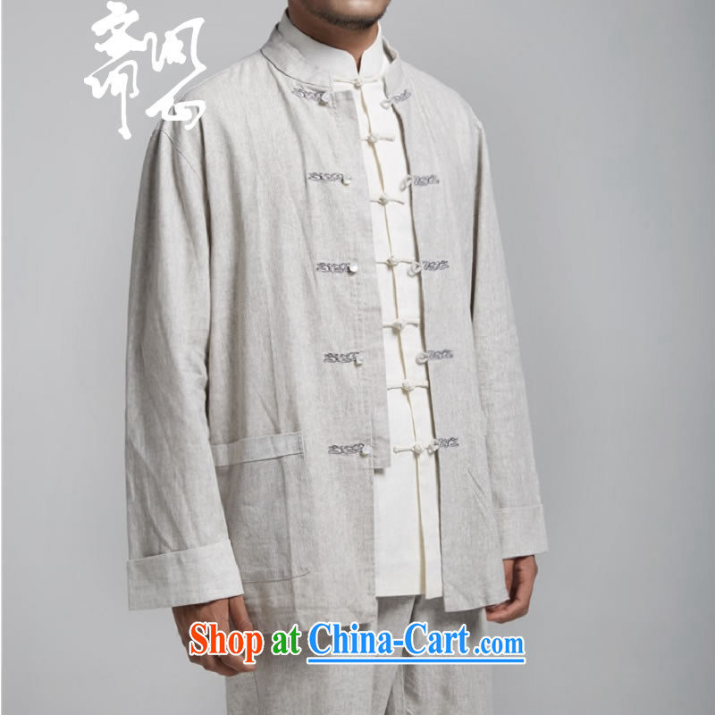 q heart Id al-Fitr (the health of spring loaded new China wind-tie linen smock embroidery Chinese WXZ 1494 light gray XXXXL 190/108, ask heart ID al-Fitr, shopping on the Internet