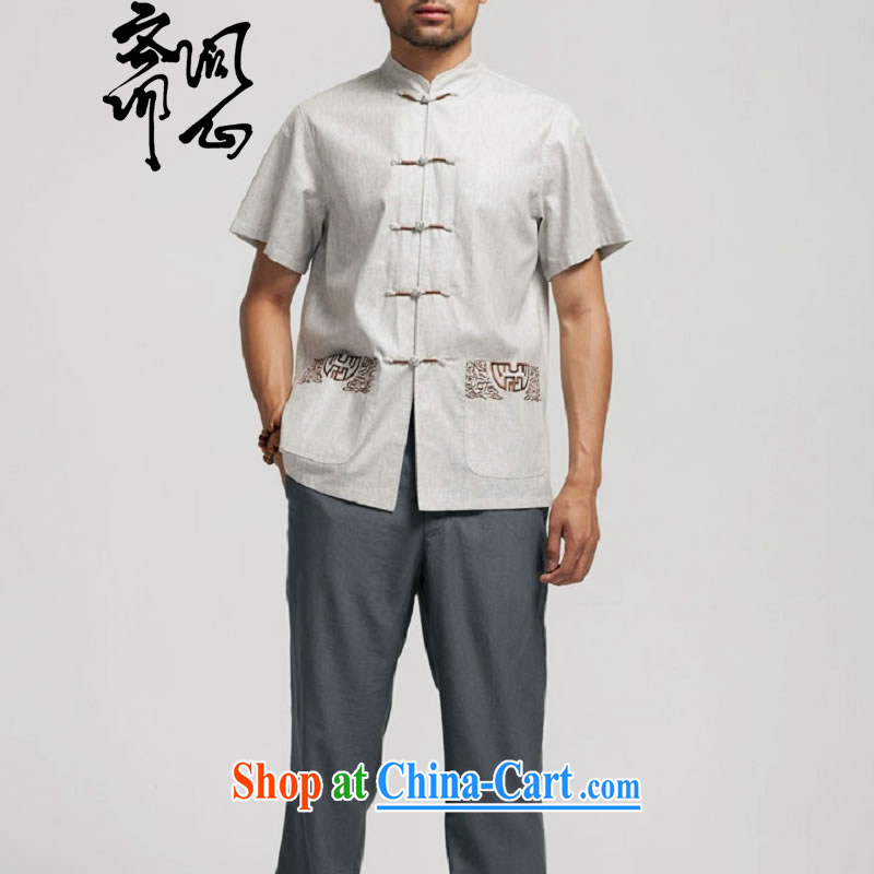 q heart Id al-Fitr _the health of spring loaded new Chinese, for the charge-back linen short-sleeve pocket embroidery shirt WXZ 1466 gray XXXXL 185