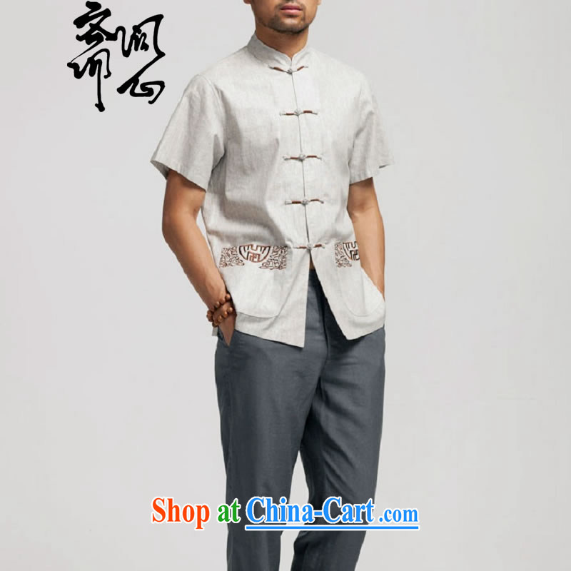 q heart Id al-Fitr (the health of spring loaded new Chinese, for the charge-back linen short-sleeve pocket embroidery shirt WXZ 1466 light gray XXXXL 185, ask a vegetarian, shopping on the Internet