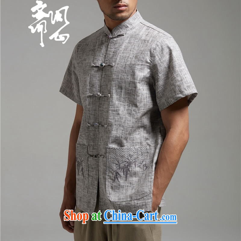 Ask a vegetarian _and, as soon as possible for the charge-back linen Chinese embroidery t-shirt with short sleeves WXZ 1455 gray XXXXL