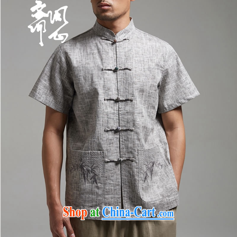 Ask a vegetarian (and, as soon as possible for the charge-back linen Chinese embroidery t-shirt with short sleeves WXZ 1455 gray XXXXL, ask a vegetarian, shopping on the Internet