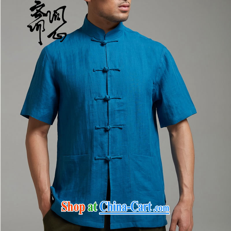 q heart Id al-Fitr _the Health men's summer new ramie Chinese-tie shirt breathable T-shirt 1436 Peacock Blue XXXL 190