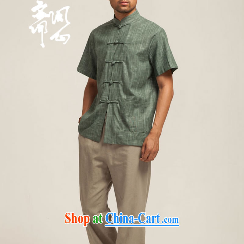 q heart Id al-Fitr (the health of spring, new products, for relaxed atmosphere short-sleeved short-sleeved Chinese WXZ 1432 army green XXXL, ask heart ID al-Fitr, shopping on the Internet