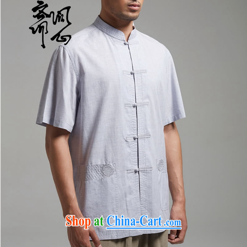 q heart Id al-Fitr (the health of spring loaded new units, the Commission for shirt-tie embroidery Chinese T-shirt WXZ 1428 light gray XXXL, ask a vegetarian, shopping on the Internet