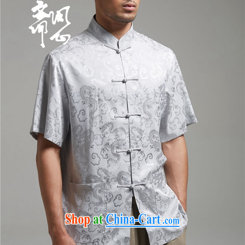 q heart Id al-Fitr (the health of spring loaded new products embroidery short-sleeved Chinese Chinese, for shirt WXZ 1423 gray XXXL