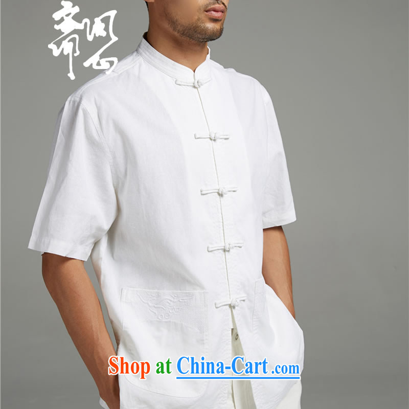 Ask a vegetarian _the Health male summer New Men China wind cotton Ma three-dimensional embroidery short-sleeved Tang with a short-sleeved white 1414 XXXL