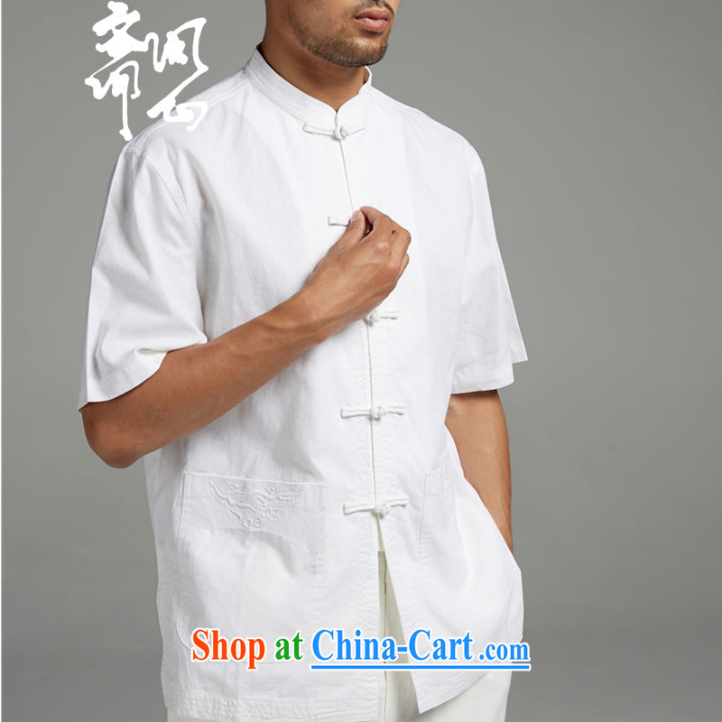 q heart Id al-Fitr (the Health men's summer New Men's China wind cotton the Commission three-dimensional embroidery short-sleeved Tang with a short-sleeved white 1414 XXXL, ask heart ID al-Fitr, shopping on the Internet