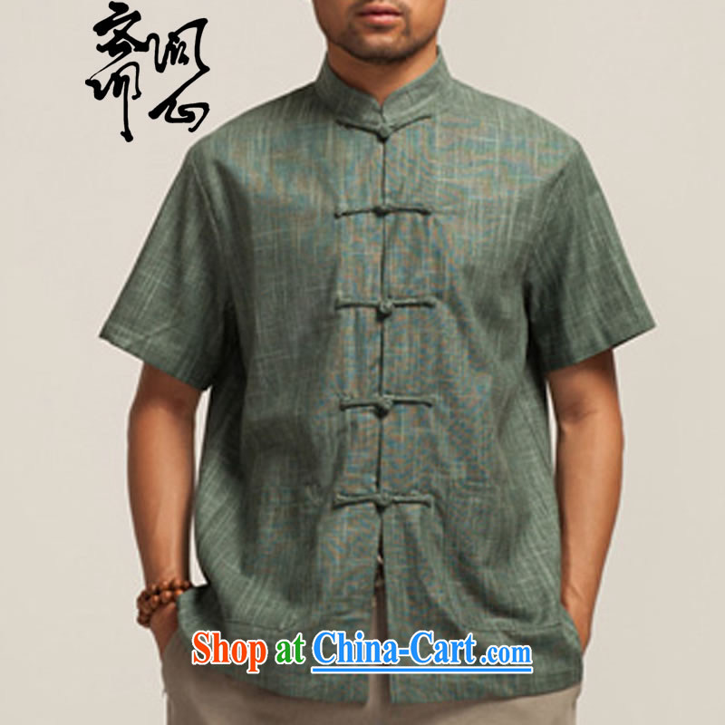 q heart Id al-Fitr _the autumn as soon as possible new men's loose, linen collar short-sleeved Chinese WXZ 1411 army green XXXL