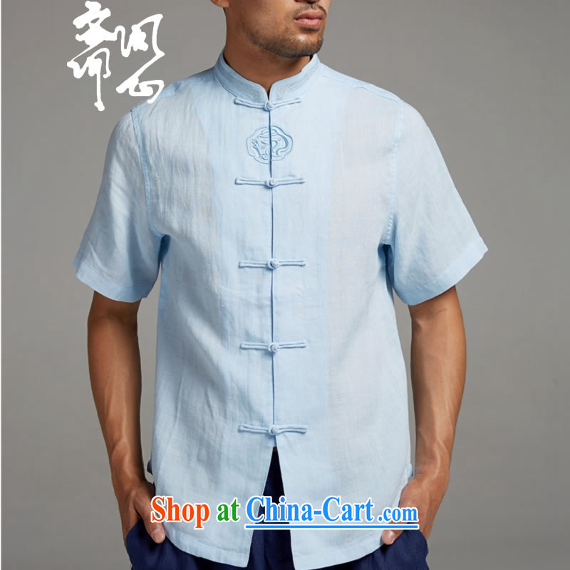 q heart Id al-Fitr _the Health men's summer new Chinese men and linen-snap shirt 1398 sky XXXL