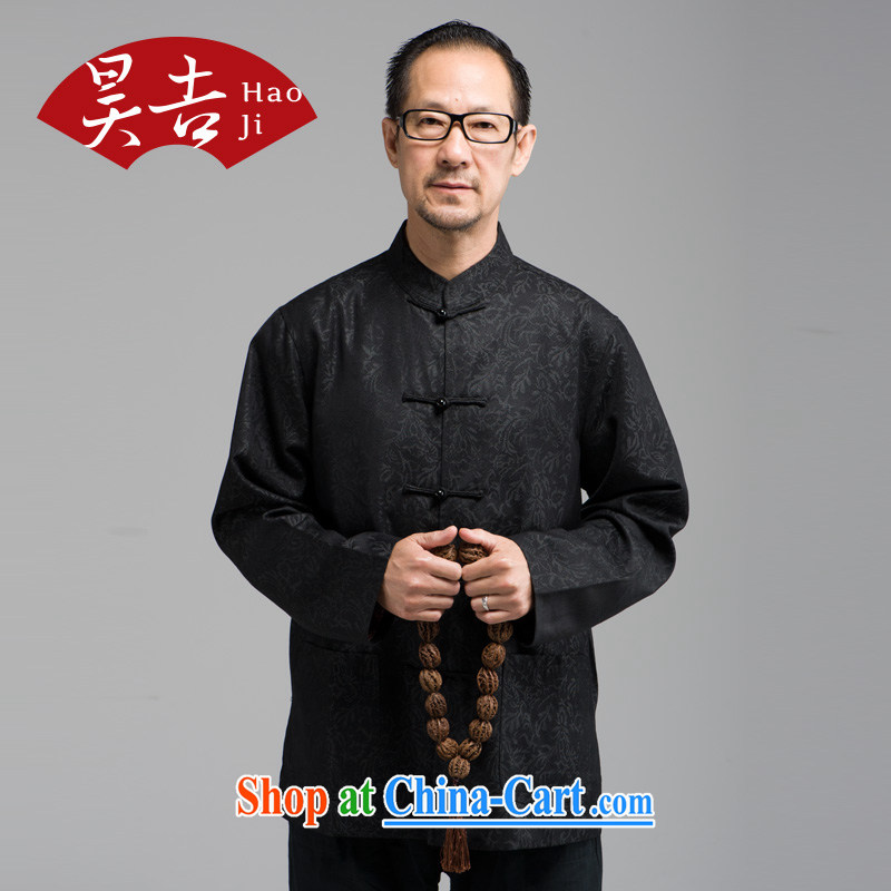 Ho Chi-chiu loading new middle-aged and older men's long-sleeved-buckle Tang fitted T-shirt father Father With Chinese national costume black 4XL