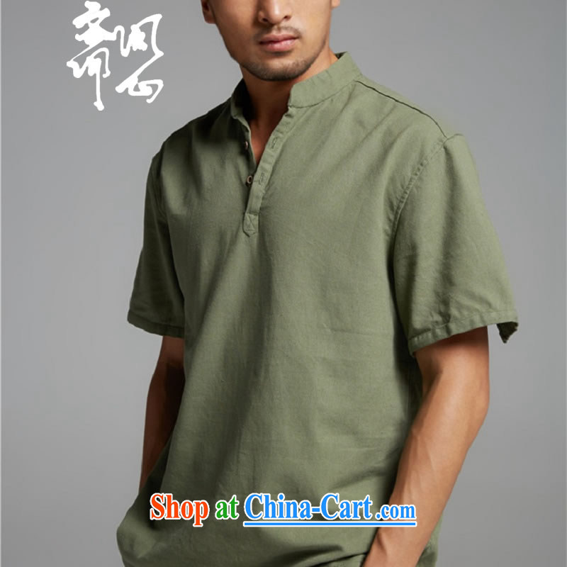 Ask a vegetarian _and as soon as possible with the new summer, cotton Ma V for men's short-sleeved sweater 1381 army green XXXL