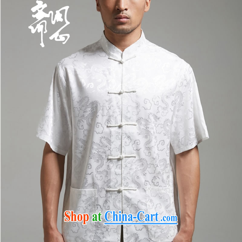Ask a vegetarian _the health and summer new Chinese Embroidery, for men's T-shirt shirt 1375 white XXXL