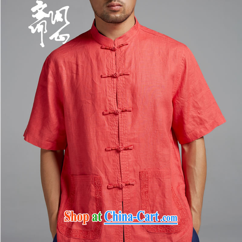 q heart Id al-Fitr _the autumn as soon as possible new men's fashion the Quality thin short-sleeved Chinese short-sleeved WXZ 1349 orange red XXXL