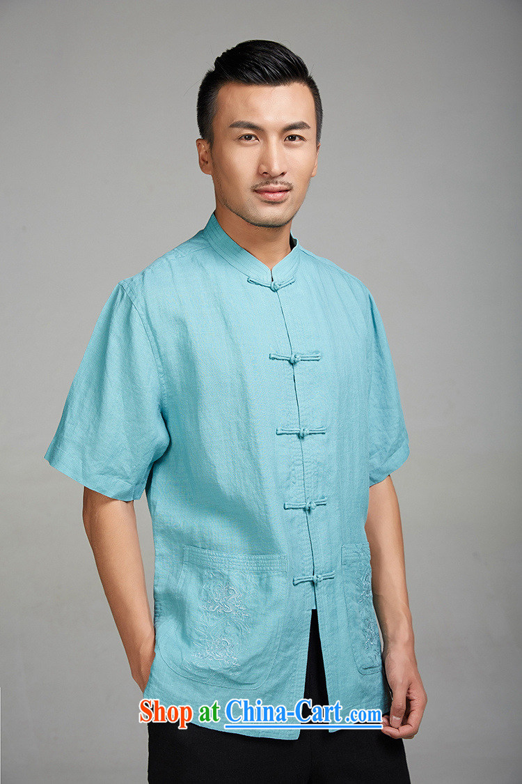 Ask a vegetarian (the health of spring loaded new China wind-tie stylish Chinese short-sleeve 1345 blue XXXL pictures, price, brand platters! Elections are good character, the national distribution, so why buy now enjoy more preferential! Health