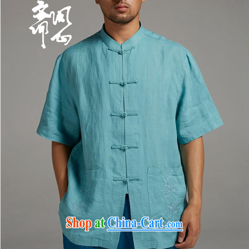 Ask a vegetarian _the health of spring loaded new China wind-tie stylish Chinese short-sleeved 1345 blue XXXL