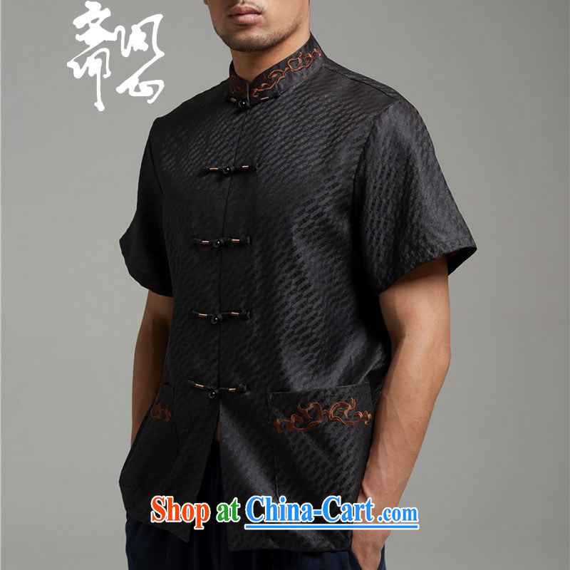 Ask a vegetarian _the autumn as soon as possible new men's stylish incense cloud yarn shirt short-sleeved Chinese WXZ 1343 black XXXXL