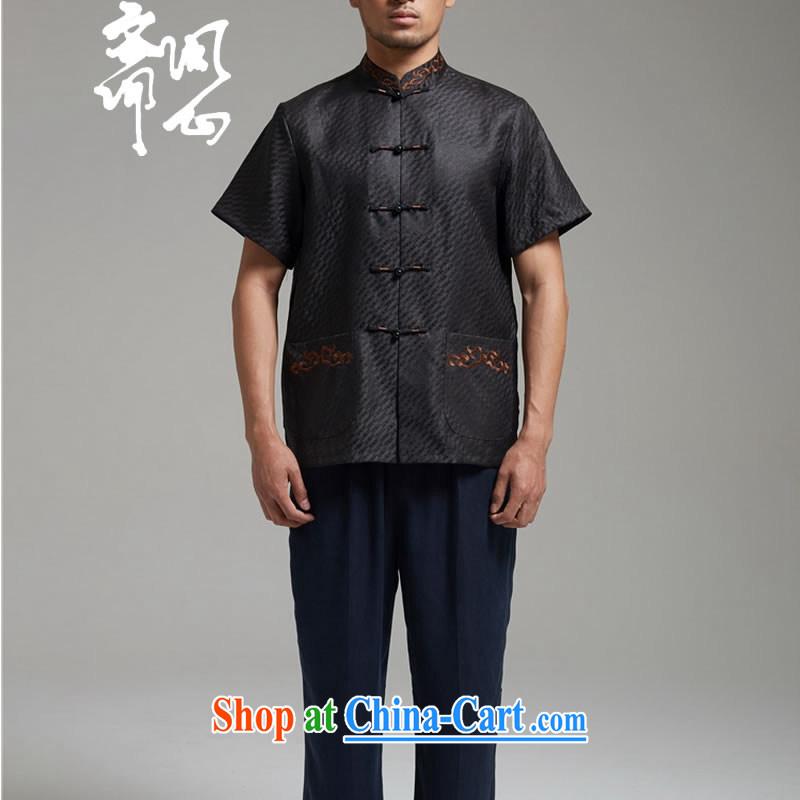 q heart Id al-Fitr (the autumn as soon as possible new men's stylish fragrant cloud yarn shirt short-sleeved Tang replace WXZ 1343 black XXXXL, ask heart ID al-Fitr, shopping on the Internet