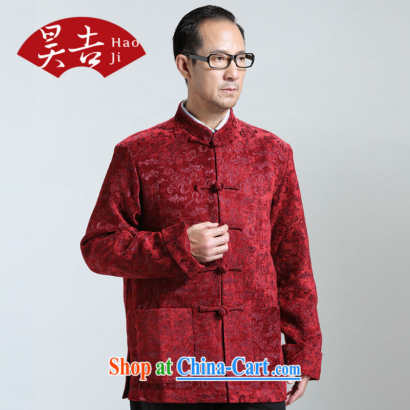Ho auspicious cloud birthday autumn 2014 the new middle-aged and older men's long-sleeved Chinese Chinese T-shirt older persons jacket red 4XL