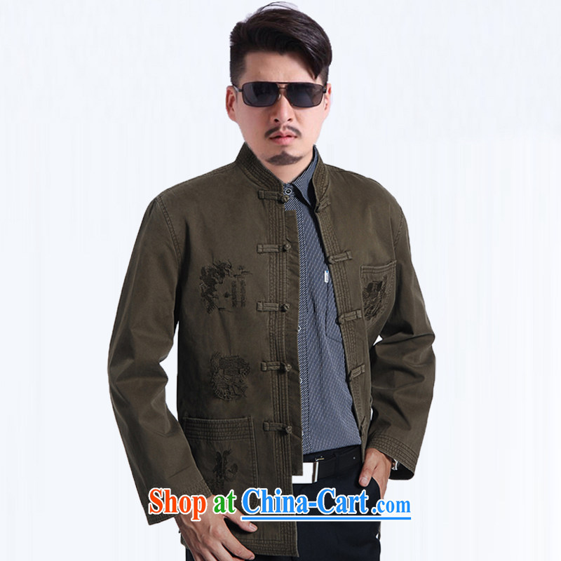 Spring and replace with new business and leisure Chinese dragon embroidery Pure Cotton Men's Long-Sleeve fitted men Tang is the code jacket light 190