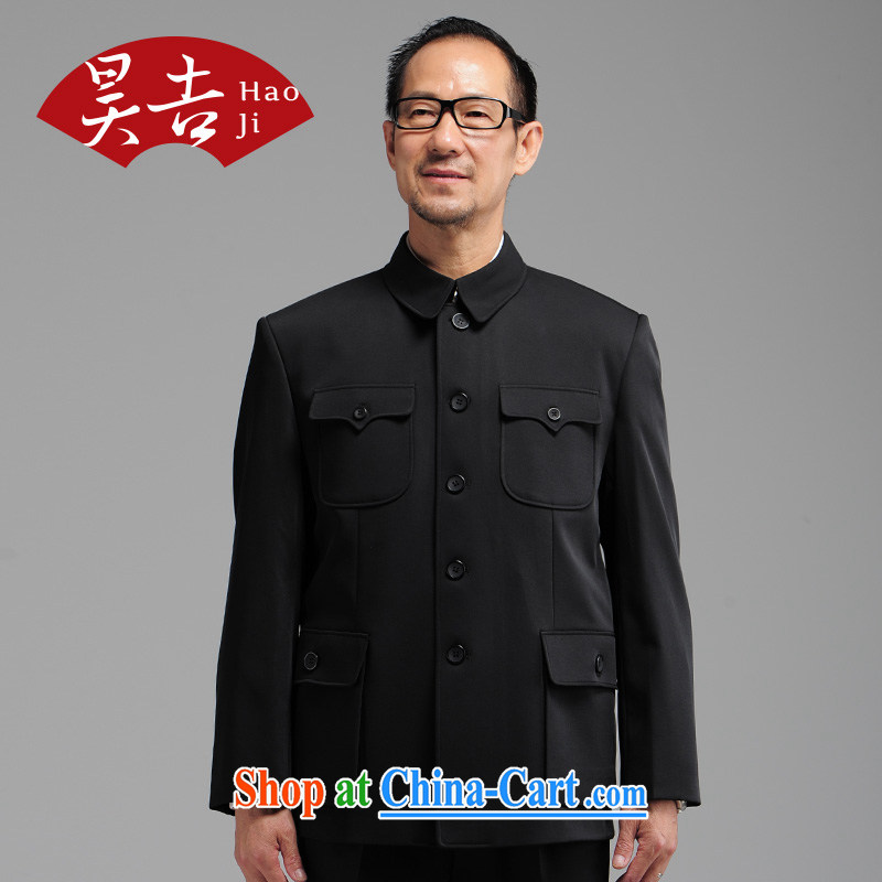 Hao Ji, older men smock Kit black older persons Sun Yat-sen suit with a large, black 72 _170_