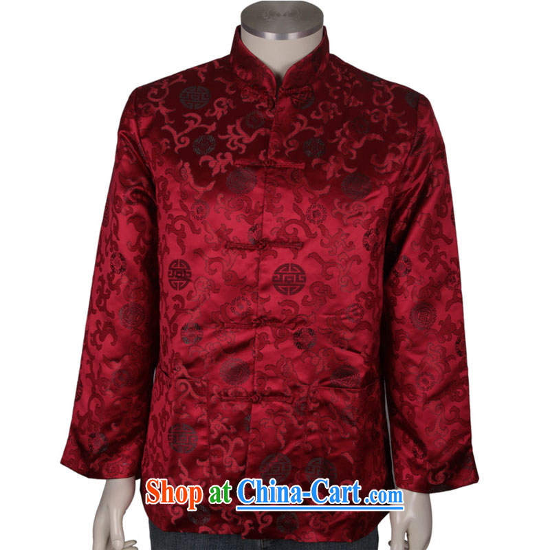 China Spring and Autumn serving older women and men in taxi couples with the collar Chinese Birthday golden long-sleeved jacket Chinese T-shirt men's wine red XL/180