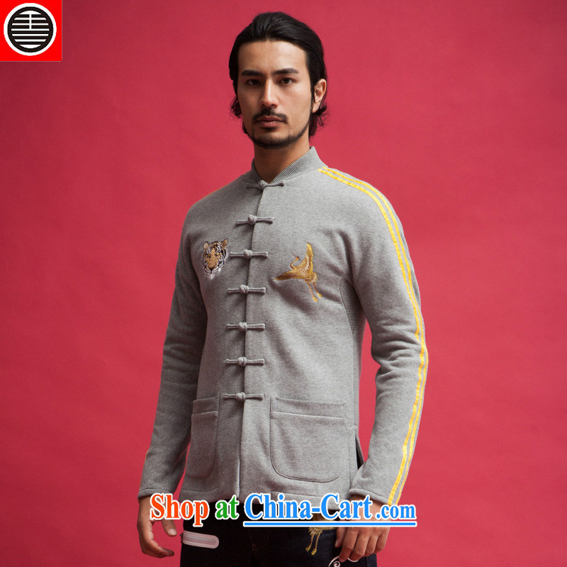 His Excellency took note China's wind Tiger crane double-shaped men and cultivating Chinese jacket Chinese sweater jacket quilted coat Kit-buckle Gray Movement (XXL)