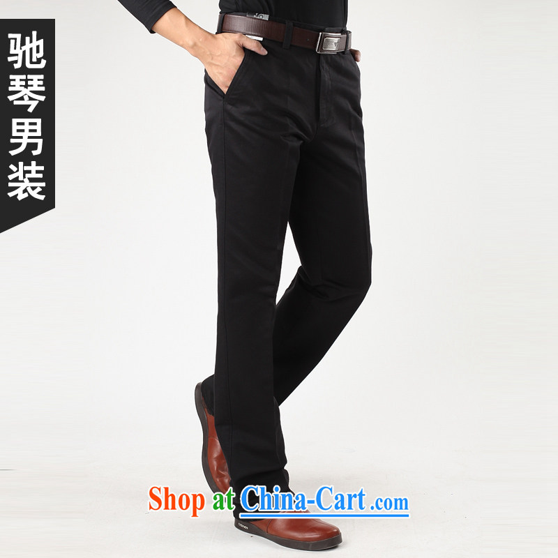 Duo Qin pure cotton from hot business and leisure pants fall 2015 with new thick, Chinese men's loose men's trousers white card the color dark blue 9027 9027 blue 30, 2 feet 3 back