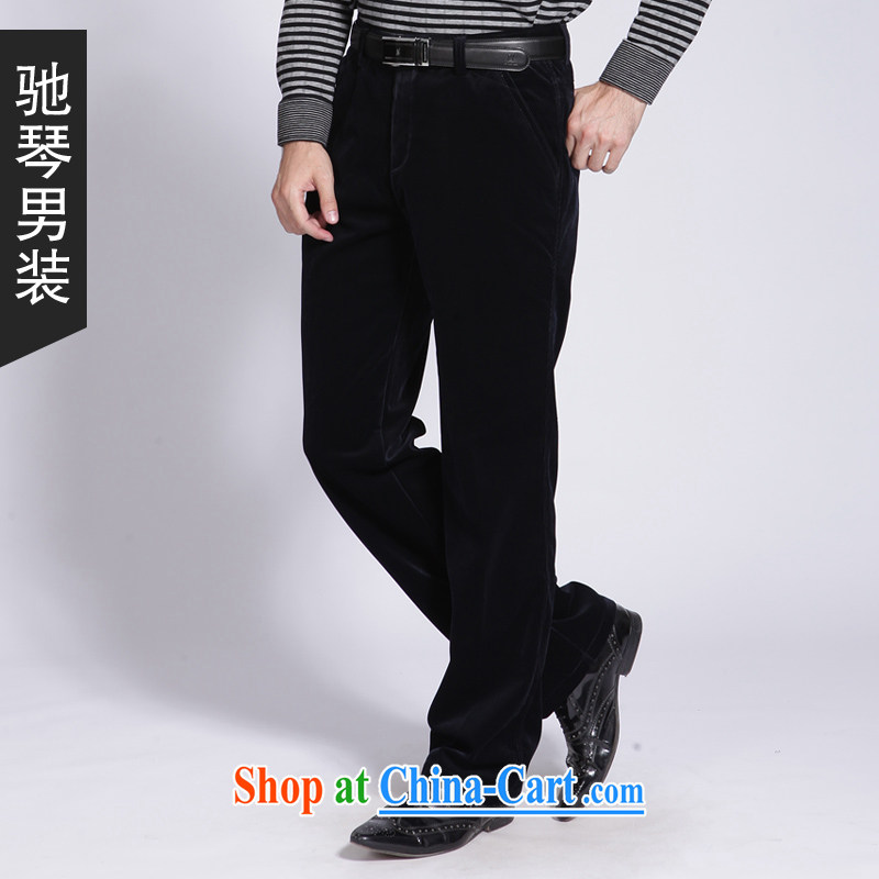 Duo Qin men's 2015 fall and winter season with new card the color black, lint-free cloth pants stretch corduroy Tang on men's trousers thick warm business casual pants 883 883 deep blue 38 yards _2 feet 9 back_