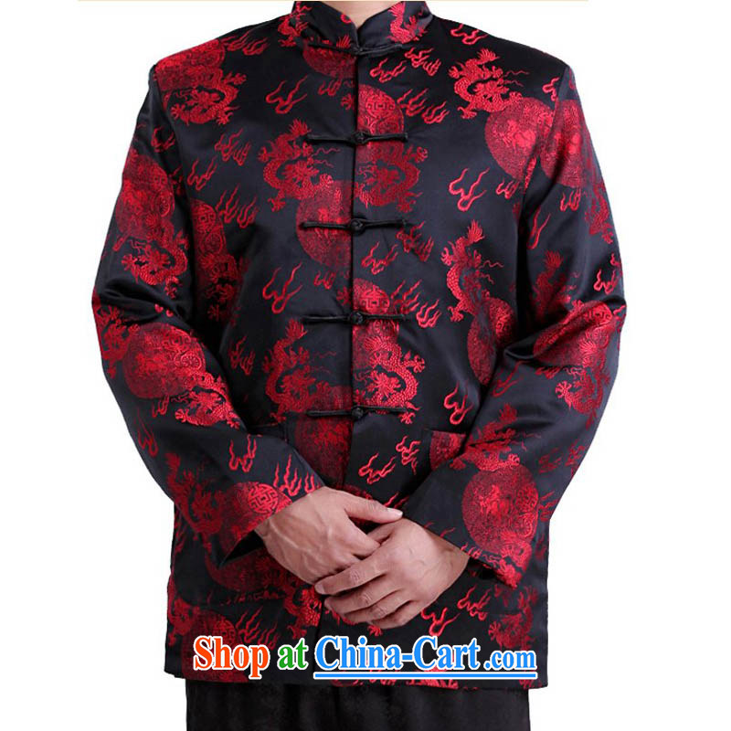 This year in particular recommended Chinese style Chinese dragon long-sleeved jacket older autumn and winter Chinese long-sleeved Chinese, Dragon for long-sleeved jacket men's father black winter, XXXL/190