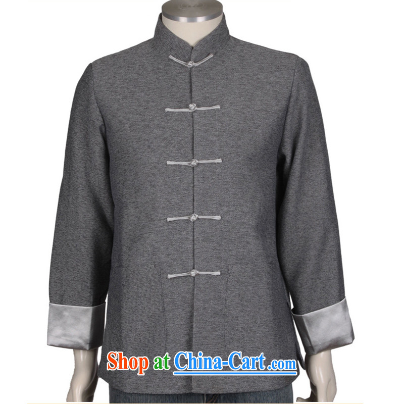 0308 F genuine men's Spring and Autumn and the Commission cotton long-sleeved New Men's leisure, for Chinese high-color LED the charge unit on the cuff Tang is gray L/175