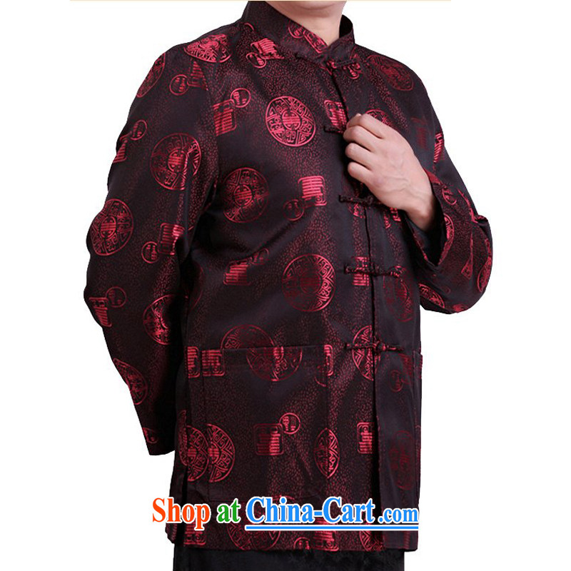 Autumn and Winter new Bok-su middle-aged and older persons Tang is long-sleeved and middle-aged leading men's T-shirt men's national costume red autumn, XXXL/190
