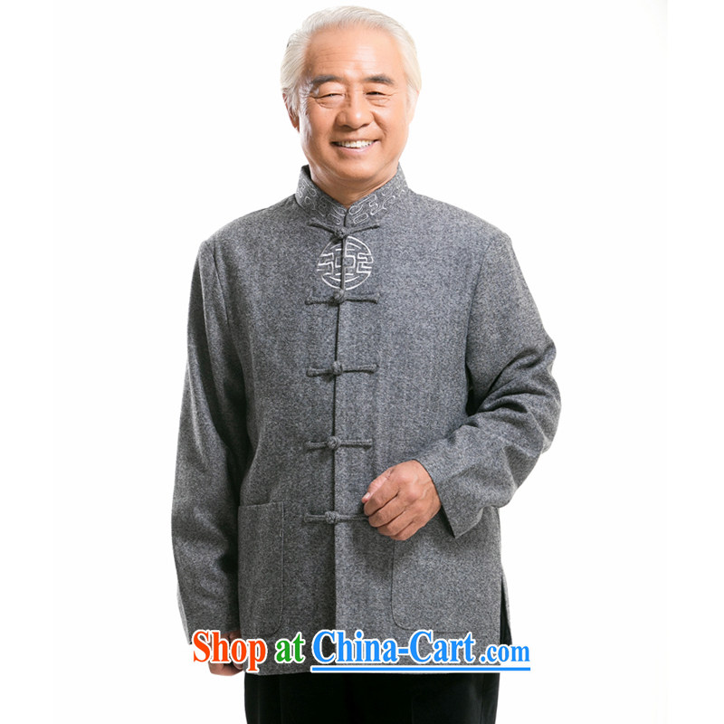 723 F father spring loaded men's national costumes in high older men and long-sleeved Chinese jacket coat gray XXXL/190