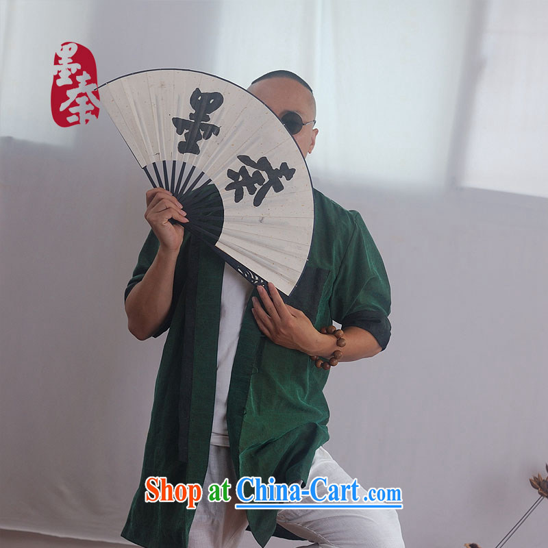 elections the Qin weaving -- original design China wind is estimated silk incense cloud yarn silk men's gown 1127 green clothing green XXL_Jumbo