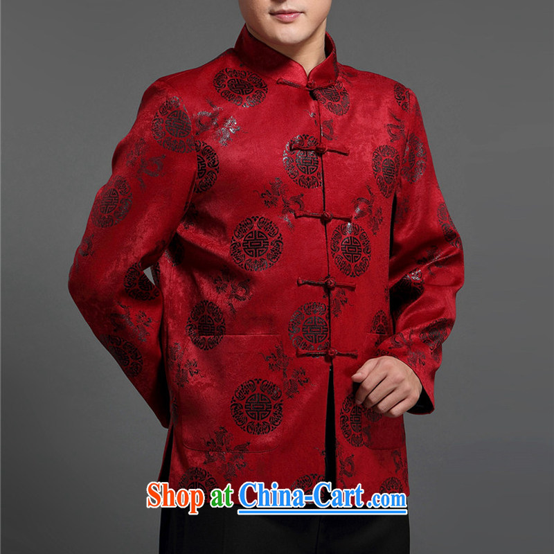 The poppy in the older men and the Chinese men's jacket jacket Chinese Disc fall arrest load the code Tang jackets men's red 185, the chestnut mouse (JINLISHU), shopping on the Internet