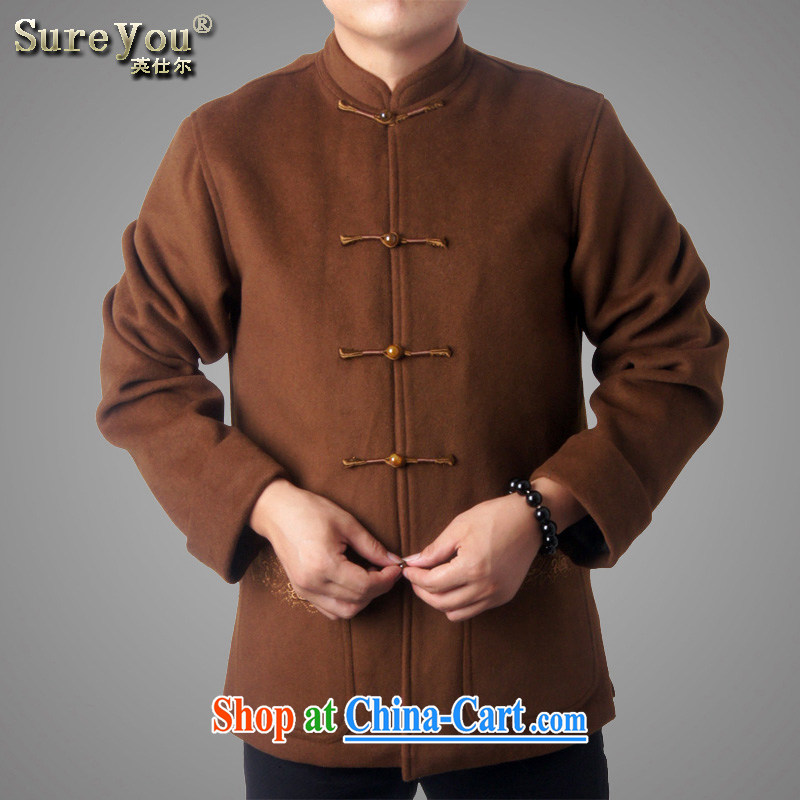 Sureyou men's fall/winter leisure Chinese long-sleeved older jacket wool Chinese Chinese, who detained 5 Chinese national service promotions 7719, tea-color 190