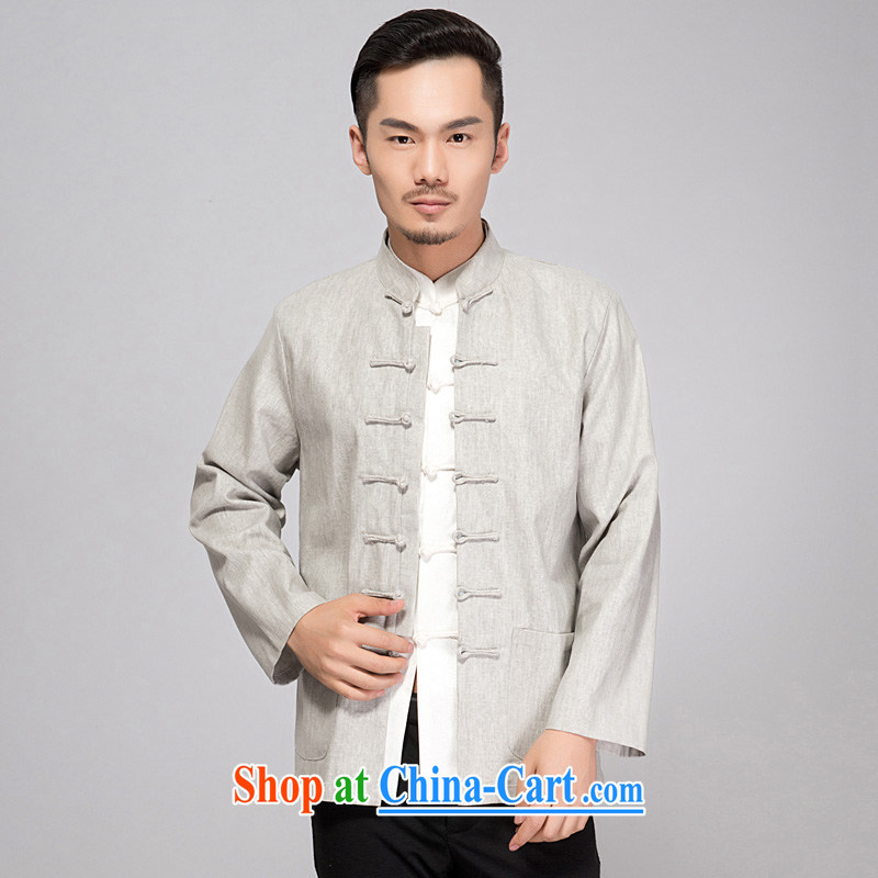 Yan Shu GE older men's cotton spring and autumn the Tang with long-sleeved spring men's cotton Ma Tang replacing long-sleeved T-shirt and old cotton muslin Ma T-shirt - old napped long-sleeved light gray 4 XL