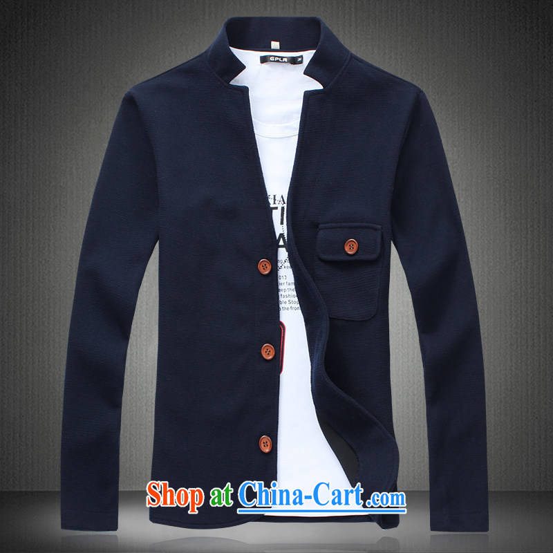 The SYI collar jacket light jacket men fall under the Sun Yat-sen collar jacket large, overweight XXXL L X 2 4 men's Sun Yat-sen Tang blue 5 XL