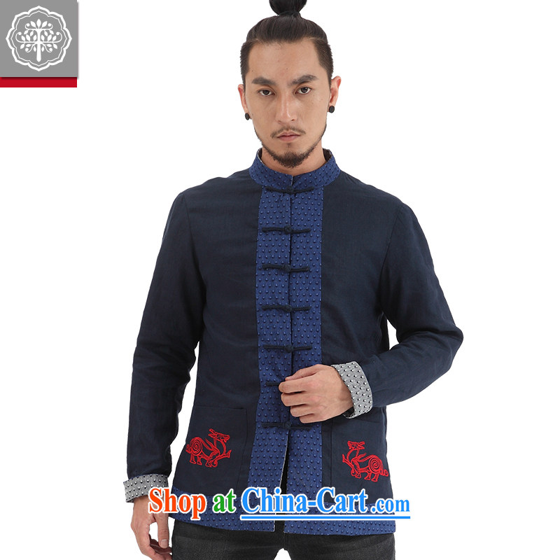 To tree Limited Edition China wind men's Chinese Long-Sleeve men's Chinese national costumes men and two-wear jacket blue Jumbo