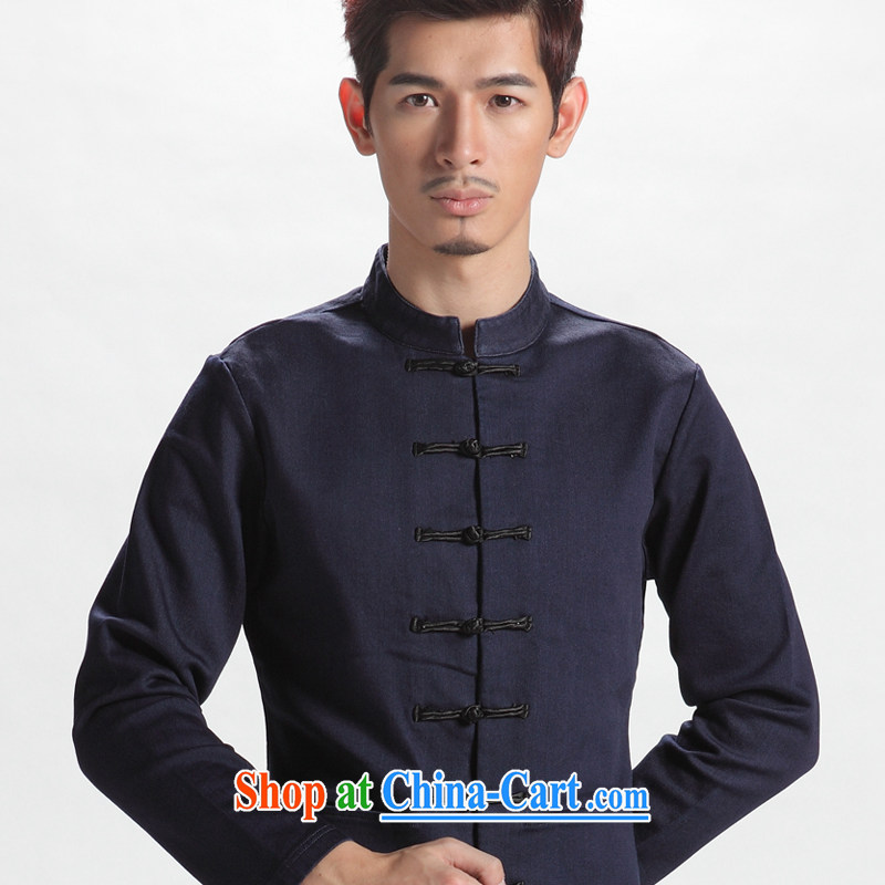 Oriental children modern Chinese style men's long-sleeved Chinese autumn improved Han-men and Chinese youth national costumes cowboy blue 190/110 (XXXXL)