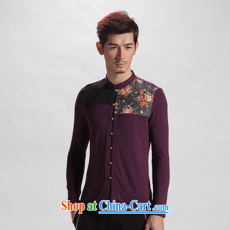 Oriental children's autumn wind to spend long-sleeved men's stylish Chinese leisure Chinese shirt men's national costumes de Lausanne 190 color _XXXXL_