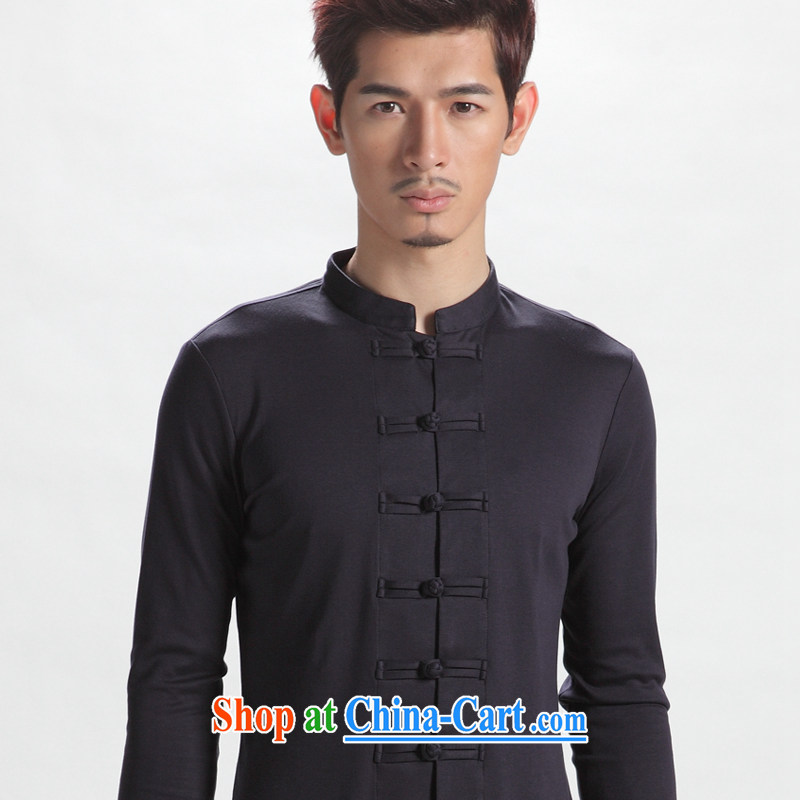 Oriental children autumn youth recreation fashion China wind men's long-sleeved Tang with the snap-chinese improved, served both men and ink blue 195 _ 110 _XXXXL_