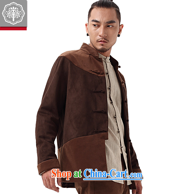 To tree Chinese style Chinese men's long-sleeved chamois leather lint-free cloth jacket men's Autumn Chinese, manually for the withholding of Han-chestnut brown jumbo/XL