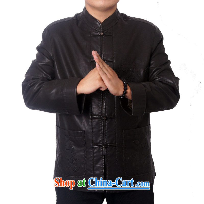 The British, Mr Rafael Hui, and 14 new men and high quality leather Chinese PU fabrics, for Chinese ethnic Chinese elderly leather jacket father gift 8820 dark coffee 190