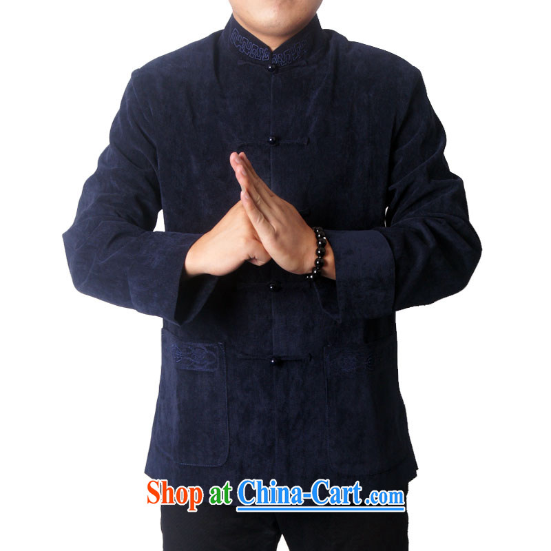 Ying Shi's new men and Chinese Spring and leisure, for birthday wishes Chinese Tang with thick birthday gift 730 dark blue 190