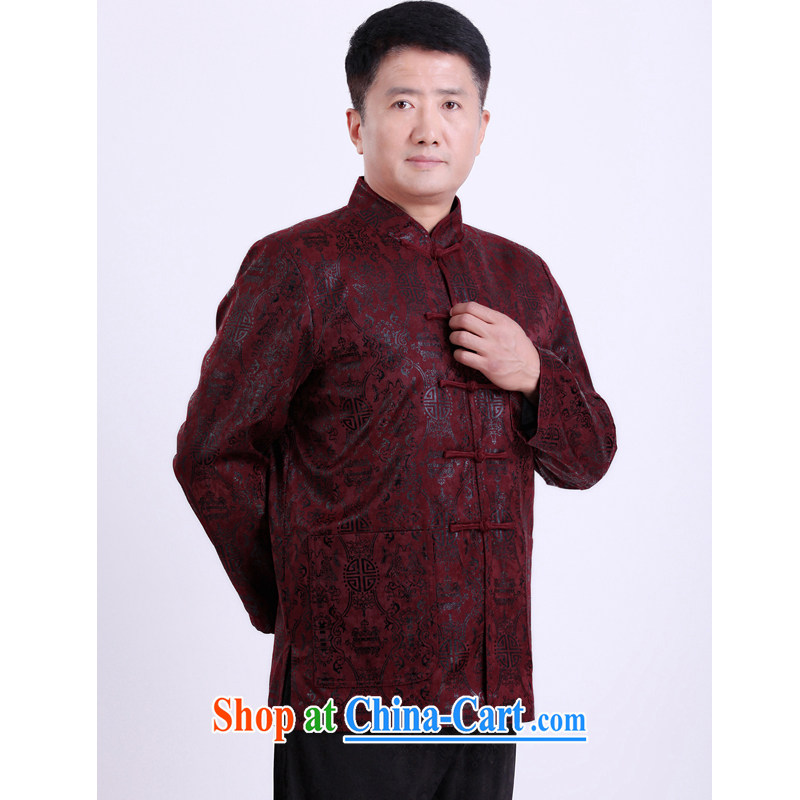 The Dili, Mr Rafael Hui, autumn and winter, new Chinese men and elderly Chinese T-shirt Chinese men and replace the Life clothing Happy Birthday Gift 13,135 165 purple_cotton